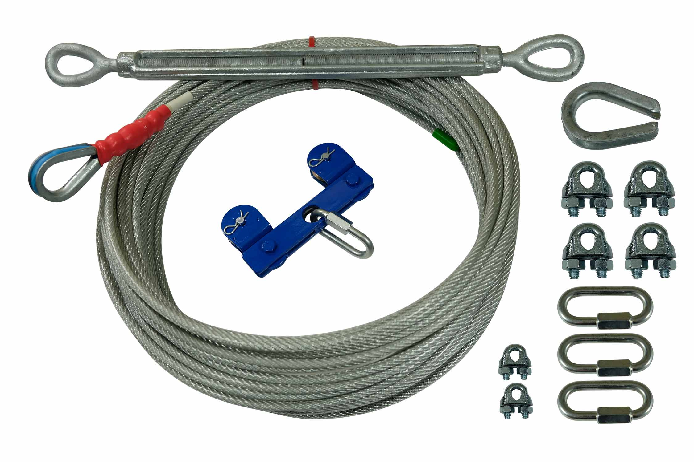 Dog Run 250ft Aerial Overhead Trolley Heavy Cable for Small to X-Large Dogs