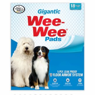 "Four Paws Wee-Wee Pads 18 pack Gigantic White 27.5"" x 44"" x 0.1"""