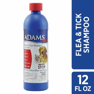 Adams Plus Flea and Tick Shampoo with Precor for Cats and Dogs 12 ounces
