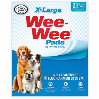 "Four Paws Wee-Wee Pads 21 pack Extra Large White 28"" x 34"" x 0.1"