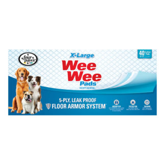 "Four Paws Wee-Wee Pads 40 pack Extra Large White 28"" x 34"" x 0.1"