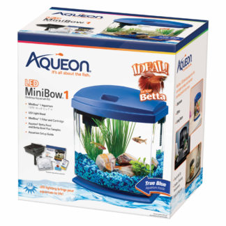 "Aqueon MiniBow LED Aquarium Kit 1 Gallon Blue 8.5"" x 6.25"" x 9.25"""