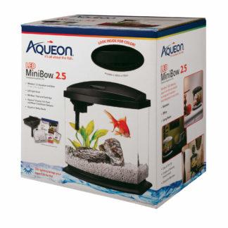 "Aqueon MiniBow LED Aquarium Kit 2.5 Gallon Black 11.5"" x 7.63"" x 12.5"""