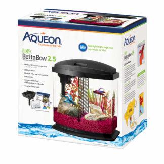 "Aqueon BettaBow LED Aquarium Kit 2.5 Gallon Black 11.5"" x 7.63"" x 12.5"""