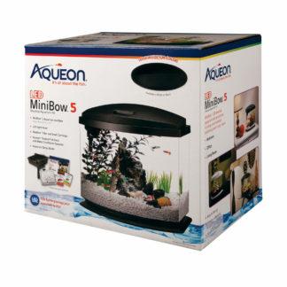 "Aqueon MiniBow LED Aquarium Kit 5 Gallon Black 14.5"" x 10"" x 13.5"""