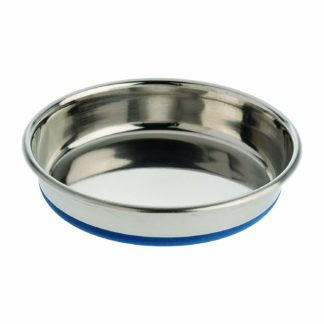 "Our Pets Durapet Premium Rubber-Bonded Stainless Steel Dish 1.75 cup Silver 6.25"" x 6.25"" x 1.25"""