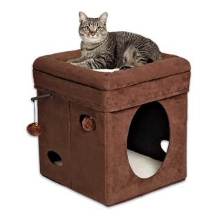 "Midwest Curious Cat Cube Brown 15.125"" x 15.125"" x 16.5"""