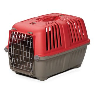 "Midwest Spree Plastic Pet Carrier Red 21.875"" x 14.25"" x 14.25"""