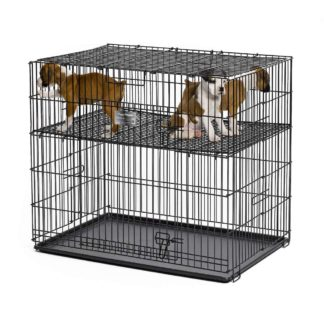 "Midwest Puppy Playpen with Plastic Pan and 1"" Floor Grid Black 24"" x 36"" x 30"""