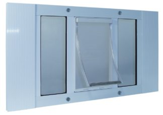 "Ideal Pet Products Aluminum Sash Cat Flap Pet Door Small White 1.25"" x 23"" x 12.38"""