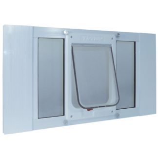 "Ideal Pet Products Aluminum Sash ChubbyKat Flap Pet Door Medium White 1.25"" x 23"" x 10.75"""