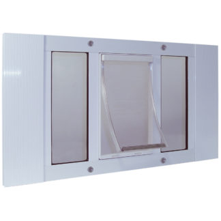 "Ideal Pet Products Aluminum Sash Pet Door Small White 1.5"" x 23"" x 12"""