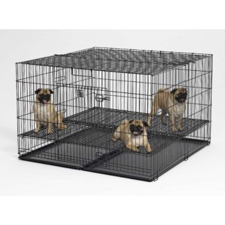 "Midwest Puppy Playpen with Plastic Pan and 1"" Floor Grid Black 48"" x 48"" x 30"""
