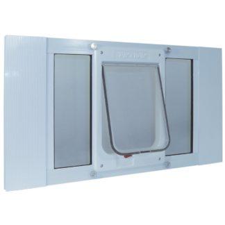 "Ideal Pet Products Aluminum Sash ChubbyKat Flap Pet Door Medium White 1.25"" x 27"" x 15.06"""