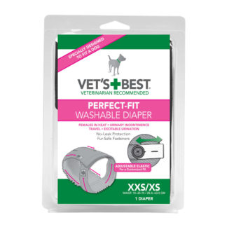 "Vet's Best Perfect-Fit Washable Female Dog Diaper 1 pack Extra Extra Small / Extra Small Gray 5.44"" x 1.75"" x 7.75"""
