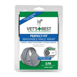 "Vet's Best Perfect-Fit Washable Male Wrap 1 pack Small / Medium Black 5.44"" x 1.75"" x 7.75"""