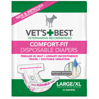 """Vet's Best Comfort-Fit Disposable Female Dog Diaper 12 pack Large / Extra Large White 8.25"""" x 5"""" x 6.38"""""""
