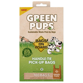 Bags on Board Green-Ups Waste Pick-Up Hand Tie Bags 100 count Brown