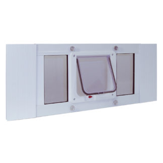 "Ideal Pet Products Aluminum Sash Cat Flap Pet Door Small White 1.25"" x 33"" x 10.63"""