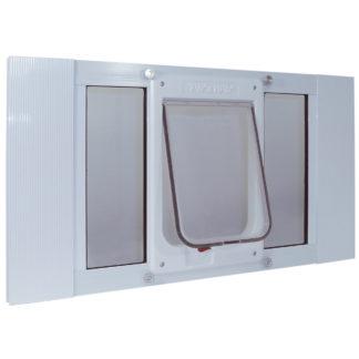 "Ideal Pet Products Aluminum Sash ChubbyKat Flap Pet Door Medium White 1.25"" x 33"" x 15.06"""