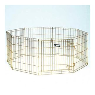 "Midwest Gold Zinc Pet Exercise Pen 8 panels Gold 24"" x 30"""