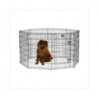 "Midwest Black E-Coat Pet Exercise Pen with Walk-Thru Door 8 Panels Black 24"" x 36"""