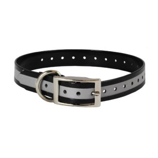 "The Buzzard's Roost Reflective Collar Strap 1"" Black 1"" x 24"""