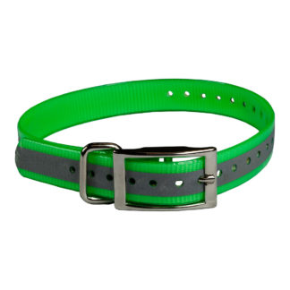 "The Buzzard's Roost Reflective Collar Strap 1"" Green 1"" x 24"""