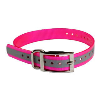 "The Buzzard's Roost Reflective Collar Strap 1"" Pink 1"" x 24"""