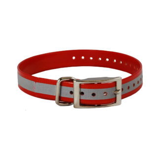 "The Buzzard's Roost Reflective Collar Strap 1"" Red 1"" x 24"""