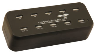 "The Buzzard's Roost 10 Port Multi Charger for Garmin Alpha, DC50, TT10, T5 or TT15 Black 6"" x 2.5"" x 2.5"""