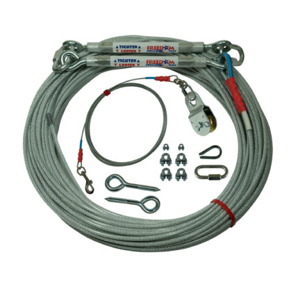Freedom Aerial Dog Runs for Two Tree Applications 200 FT Aerial Cable 20 FT Lead Line LD