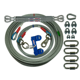 Freedom Aerial Dog Runs for Two Tree Applications 200 FT Aerial Cable 20 FT Lead Line SHD