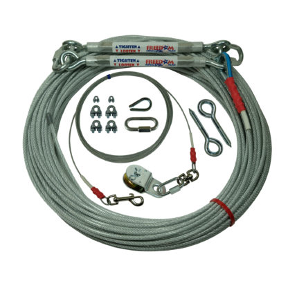 Freedom Aerial Dog Runs for Two Tree Applications 200 FT Aerial Cable 20 FT Lead Line SLD