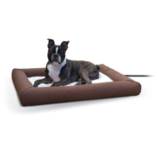 "K&H Pet Products Deluxe Lectro-Soft Outdoor Heated Pet Bed Medium Brown 26.5"" x 30.5"" x 3.5"""