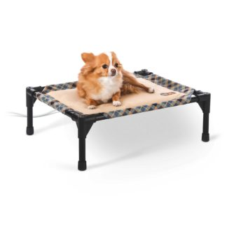 "K&H Pet Products Thermo-Pet Cot Small Tan / Plaid 17"" x 22"" x 7"""