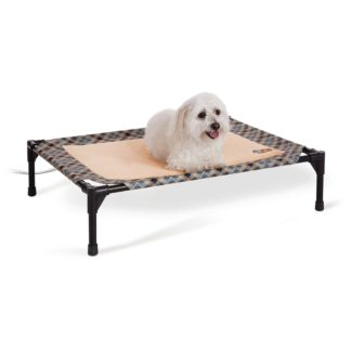 "K&H Pet Products Thermo-Pet Cot Medium Tan / Plaid 25"" x 32"" x 7"""