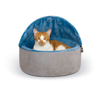 "K&H Pet Products Self-Warming Kitty Bed Hooded Small Blue/Gray 16"" x 16"" x 12.5"""