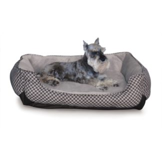 "K&H Pet Products Self Warming Lounge Sleeper Square Pet Bed Medium Black 24"" x 30"" x 9"""