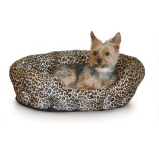 "K&H Pet Products Self Warming Nuzzle Nest Pet Bed Leopard 19"" x 19"" x 6"""