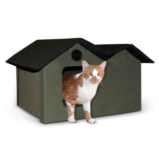 "K&H Pet Products Unheated Outdoor Kitty House Extra Wide Olive / Black 21.5"" x 26.5"" x 15.5:"