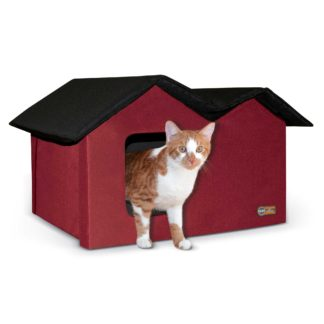 "K&H Pet Products Outdoor Kitty House Extra-Wide Unheated Red 21.5"" x 14"" x 13"""