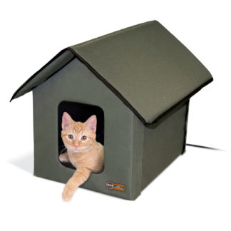 "K&H Pet Products Outdoor HEATED Kitty House Olive 22"" x 18"" x 17"""