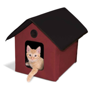 "K&H Pet Products Unheated Outdoor Kitty House Red / Black 22"" x 18"" x 17"""