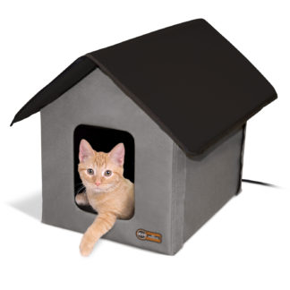 "K&H Pet Products Heated Outdoor Kitty House Gray / Black 22"" x 18"" x 17"""