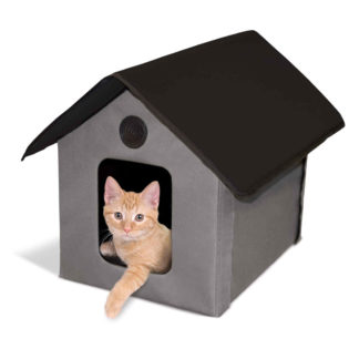 "K&H Pet Products Unheated Outdoor Kitty House Gray / Black 22"" x 18"" x 17"""