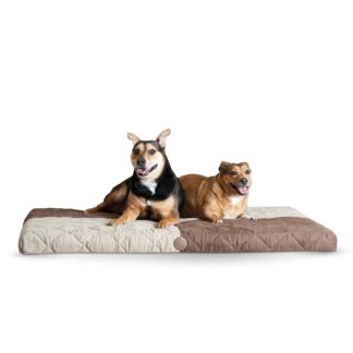 """K&H Pet Products Quilted Memory Dream Pad 1"""" Large Chocolate / Tan 37"""" x 52"""" x 1"""""""