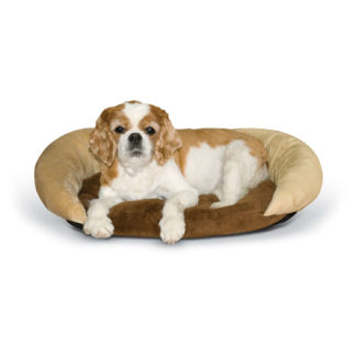"K&H Pet Products Self-Warming Bolster Bed Chocolate/Tan 14"" x 17"" x 5"""