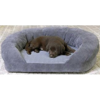 "K&H Pet Products Ortho Bolster Sleeper Pet Bed Medium Gray Velvet 30"" x 25"" x 9"""