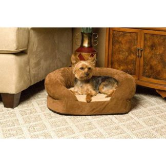 "K&H Pet Products Ortho Bolster Sleeper Pet Bed Large Brown Velvet 40"" x 33"" x 9.5"""